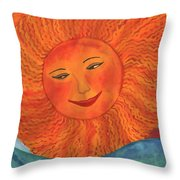 The Sun God Detail Of Red Sky At Night Throw Pillow