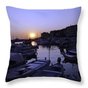 The Sun Goes Down In Rovinj Throw Pillow