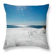 The Sun Shines Down On Freshly Fallen Snow On Bristol Beach Throw Pillow