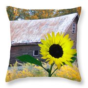 The Sunflower And The Barn Throw Pillow