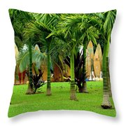 The Surfboard Fence Throw Pillow