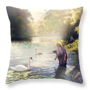 The Swan And The Fairy  Throw Pillow