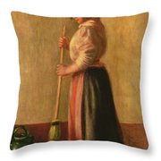The Sweeper Throw Pillow by Pierre Auguste Renoir