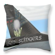 The Tail Of A Belgian F16 Aircraft Throw Pillow by Luc De Jaeger