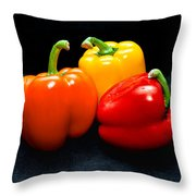 The Three Peppers Throw Pillow