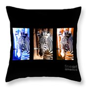The Three Zebras Black Borders Throw Pillow by Rebecca Margraf