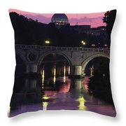 The Tiber River And The Dome Of St Throw Pillow