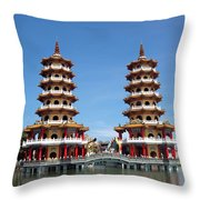 The Tiger And Dragon Pagodas Throw Pillow