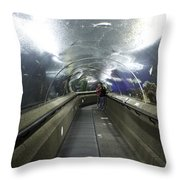 The Travelator At The Underwater World In Sentosa In Singapore Throw Pillow