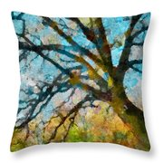 The Tree Of Many Colours  Throw Pillow