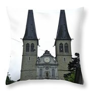 The Twin Spires Of Hof Church In Lucerne Throw Pillow