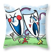 The Two Faces Of Golf Throw Pillow by Mark Armstrong
