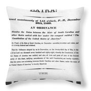 The Union Is Dissolved, 1860 Broadside Throw Pillow