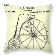 The Velocipede Patent 1880 Throw Pillow