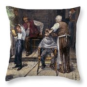 The Village Barber, 1883 Throw Pillow