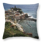 The Village Of Vernazaa On Italys Throw Pillow