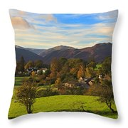 The Village Of Watermillock In Cumbria Uk Throw Pillow