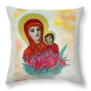 The Virgin And The Child Throw Pillow