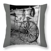 The Wagon Wheel Bw Throw Pillow