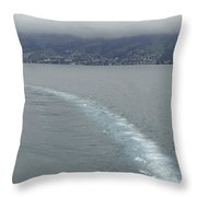 The Wake Of A Cruise Ship In Lake Lucerne Throw Pillow