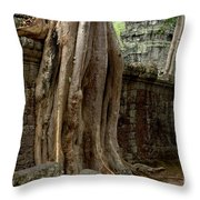 The Wall At Ta Prohm Throw Pillow