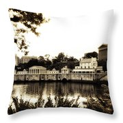 The Waterworks In Sepia Throw Pillow