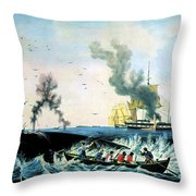 The Whale Fishery, 19th Century Throw Pillow
