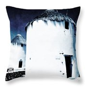 The Windmills Of Mykonos - Textured Blue Throw Pillow