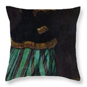 The Woman In The Green Dress Throw Pillow
