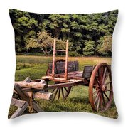 The Wooden Cart Throw Pillow