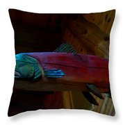 The Wooden Rainbow Trout Throw Pillow
