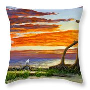 The Yellow Bench Throw Pillow
