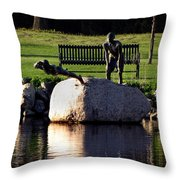 The Young Swimmers Throw Pillow