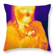 Thermogram Of A Girl And Cat Throw Pillow