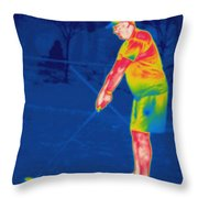 Thermogram Of A Golfer Throw Pillow