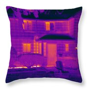 Thermogram Of A Home In Winter Throw Pillow