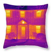 Thermogram Of A House In Winter Throw Pillow