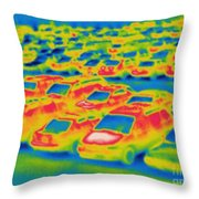 Thermogram Of A Parking Lot Throw Pillow