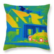Thermogram Of Car In Front Of A House Throw Pillow