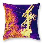 Thermogram Of Electrical Wires Throw Pillow by Ted Kinsman