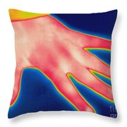 Thermogram Of Hand Throw Pillow