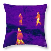 Thermogram Of People Walking Throw Pillow
