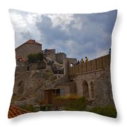 They Walk The Wall In Dubrovnik Throw Pillow