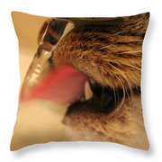 Thirsty Cat Throw Pillow