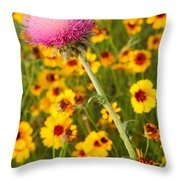Thistle And Coreopsis 2am-110455 Throw Pillow