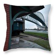 Thomas Edison Depot And Blue Water Bridges 2012 Throw Pillow