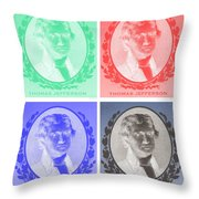 Thomas Jefferson In Negative Colors Throw Pillow