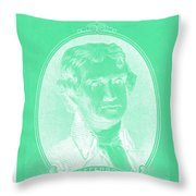 Thomas Jefferson In Negative Green Throw Pillow