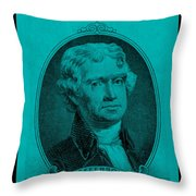 Thomas Jefferson In Turquois Throw Pillow by Rob Hans