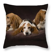 Three Basset Hound On Brown Muslin Throw Pillow